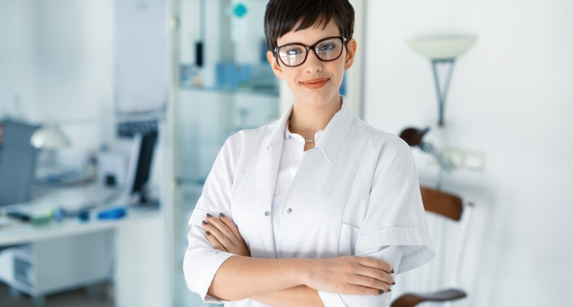 Portrait of female optometrist at eyesight medical ophthalmology clinic